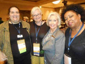 "Lilly Ledbetter  the AAUW ""poster gal"" for Pay Equity, shown here with Freda Bryson on the right and students from Texas State University (Tonya Long and Susan Croteau)"